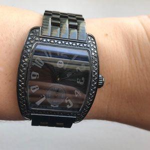 Michele urban mini black diamond watch